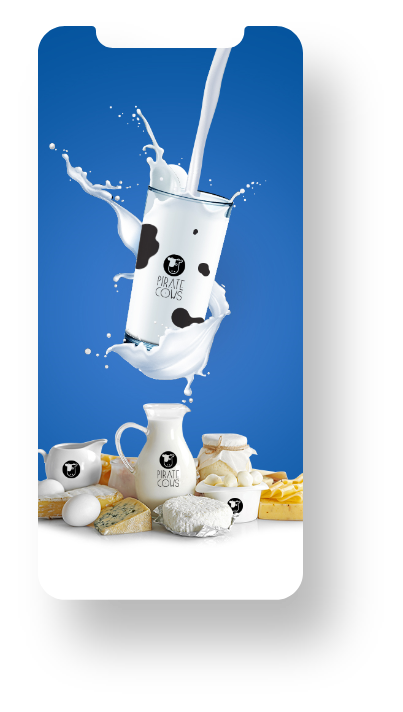 Marketing collateral - Pirate Cows milk product brand